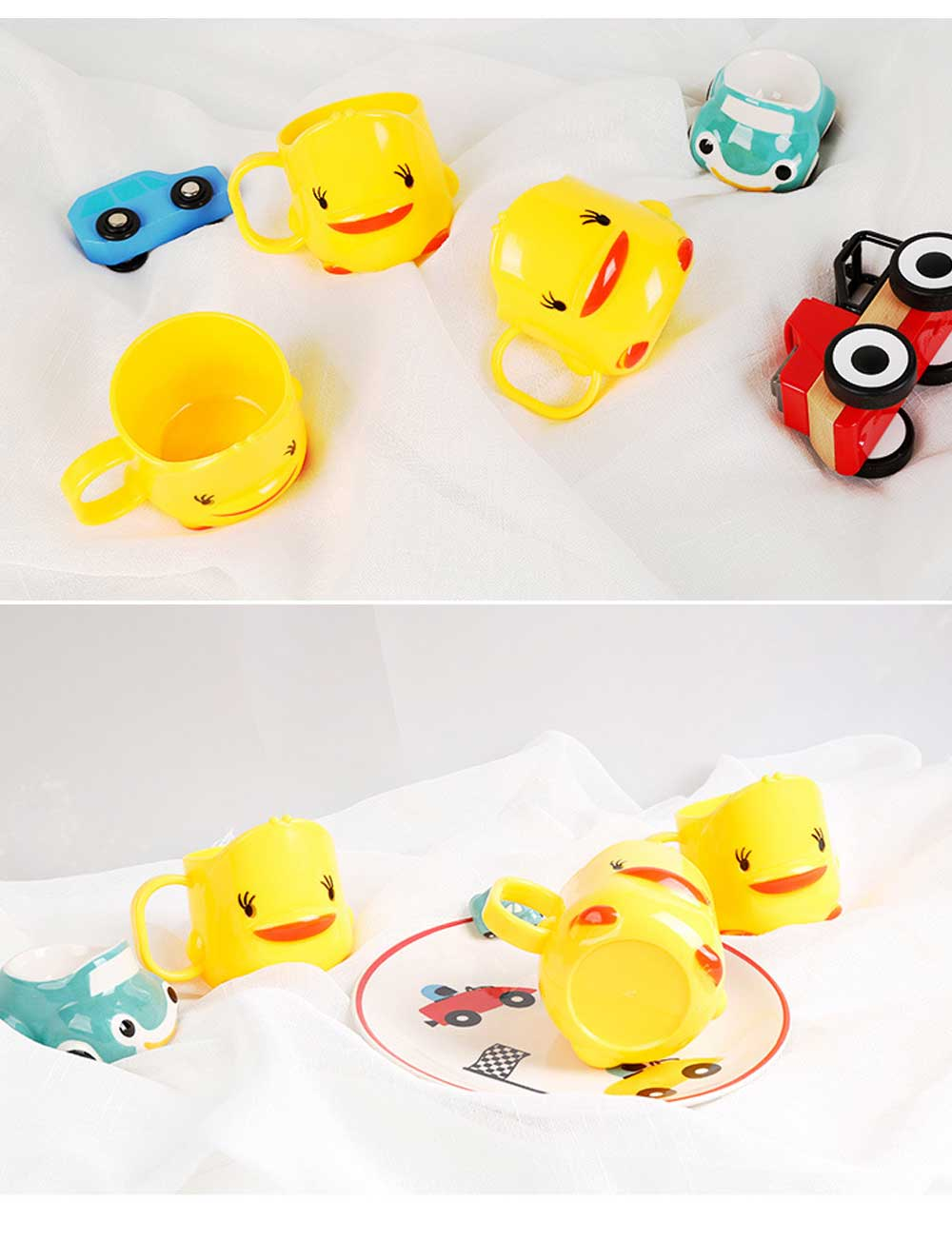 Cartoon Toothbrush Tumbler for Kids Children, Green PP Toothbrush Cup with Handle, Duck Designed Dental Care Mug 6