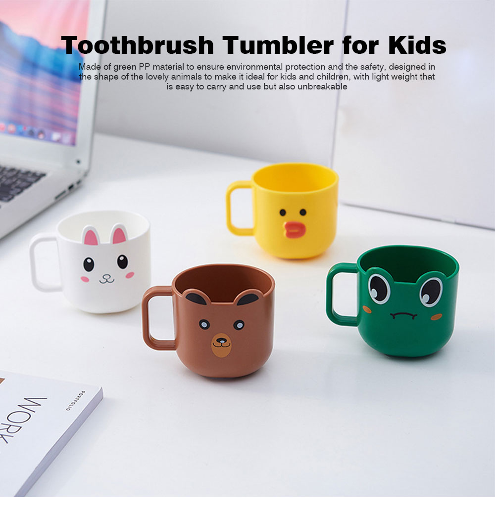 Cartoon Toothbrush Tumbler for Kids Children, Green PP Toothbrush Cup with Handle, Lovely Designed Dental Care Mug 0