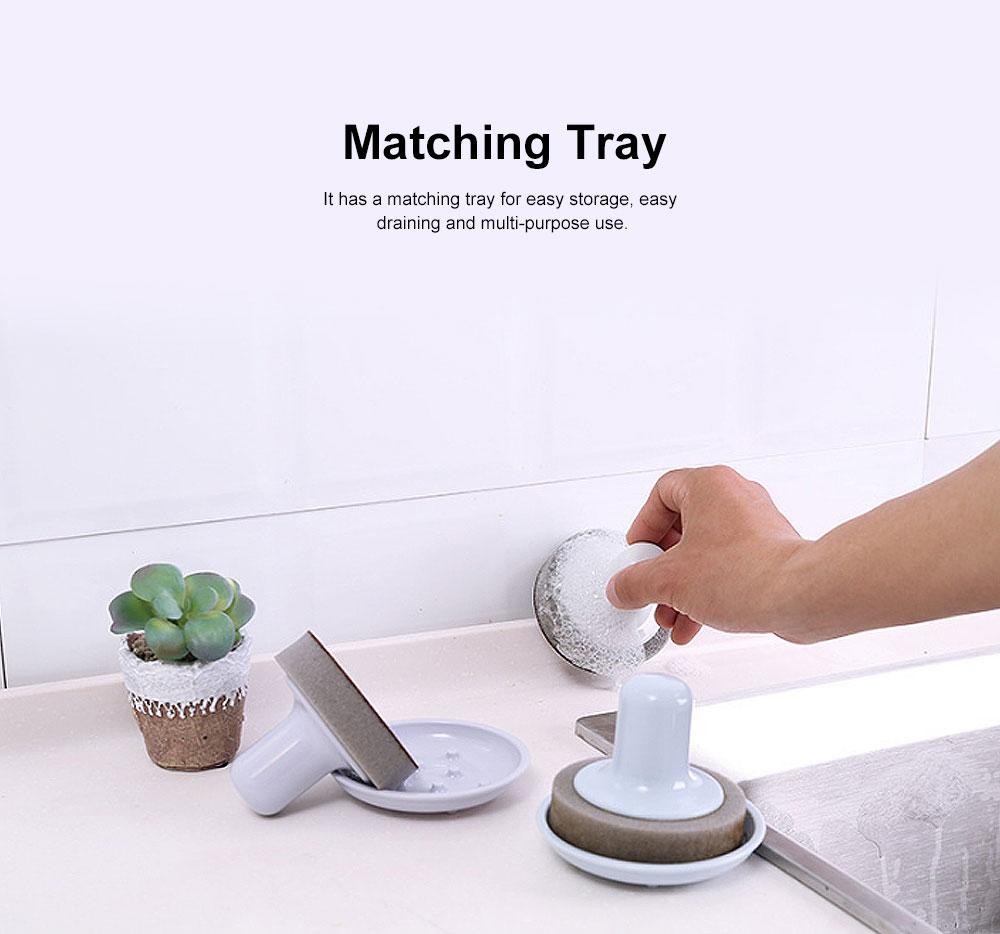 Household Handle Brush, Practical Brush For Washing Bowl, Pot, Household Emery Sponge Scrubbing Brush 1