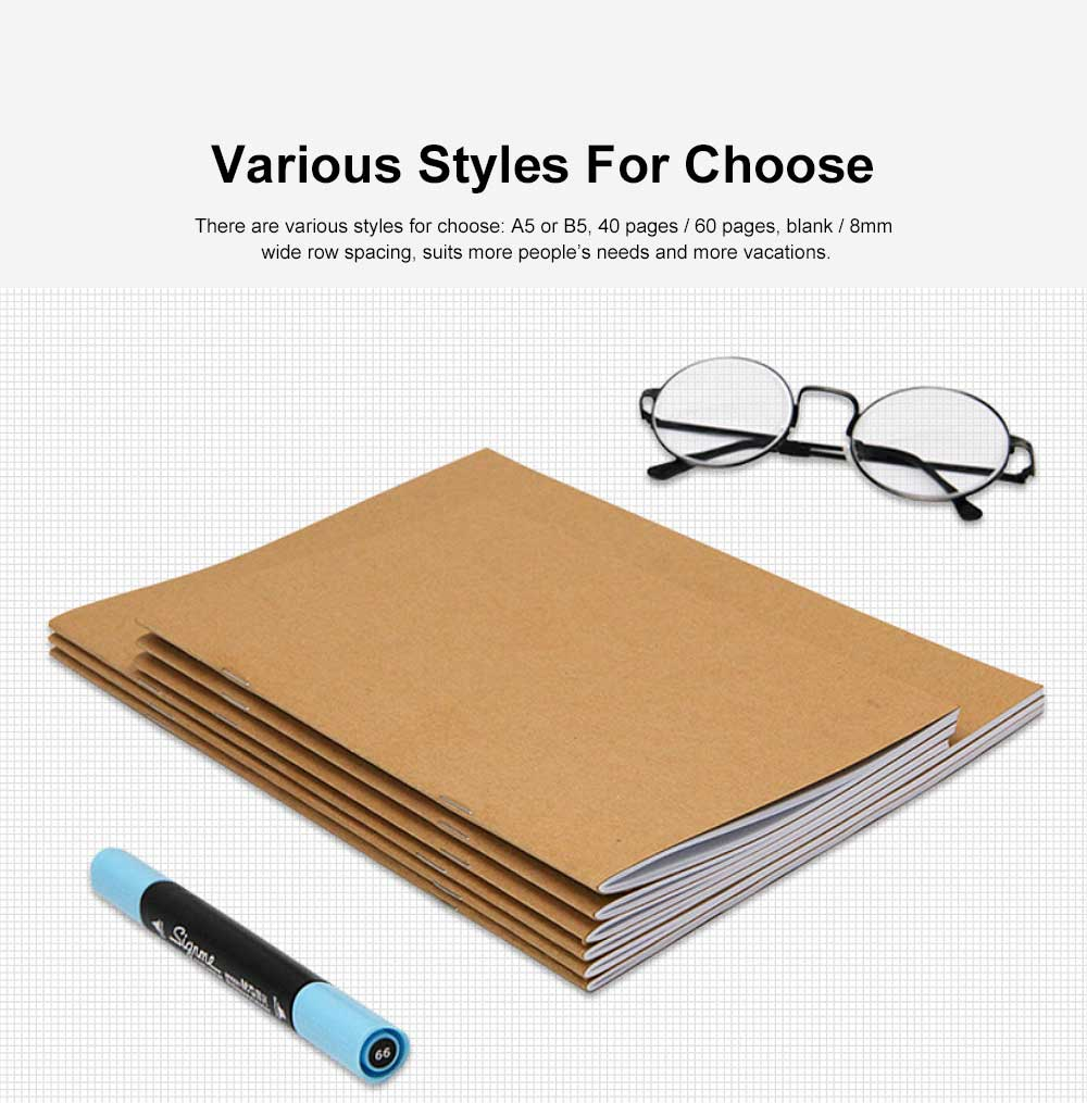 Simple Kraft Cover Exercise Book Students Scribbling Pad Uncoated Woodfree Paper 40&60 Pages A5&B5 Notebook 4