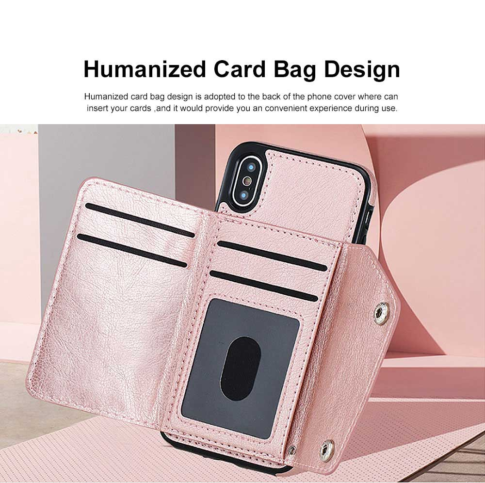 Stylish Leather Phone Case with Card Bag, Wallet, Case Cover Can be Insert Cards, Multifunctional Phone Case for iPhone, Samsung 1