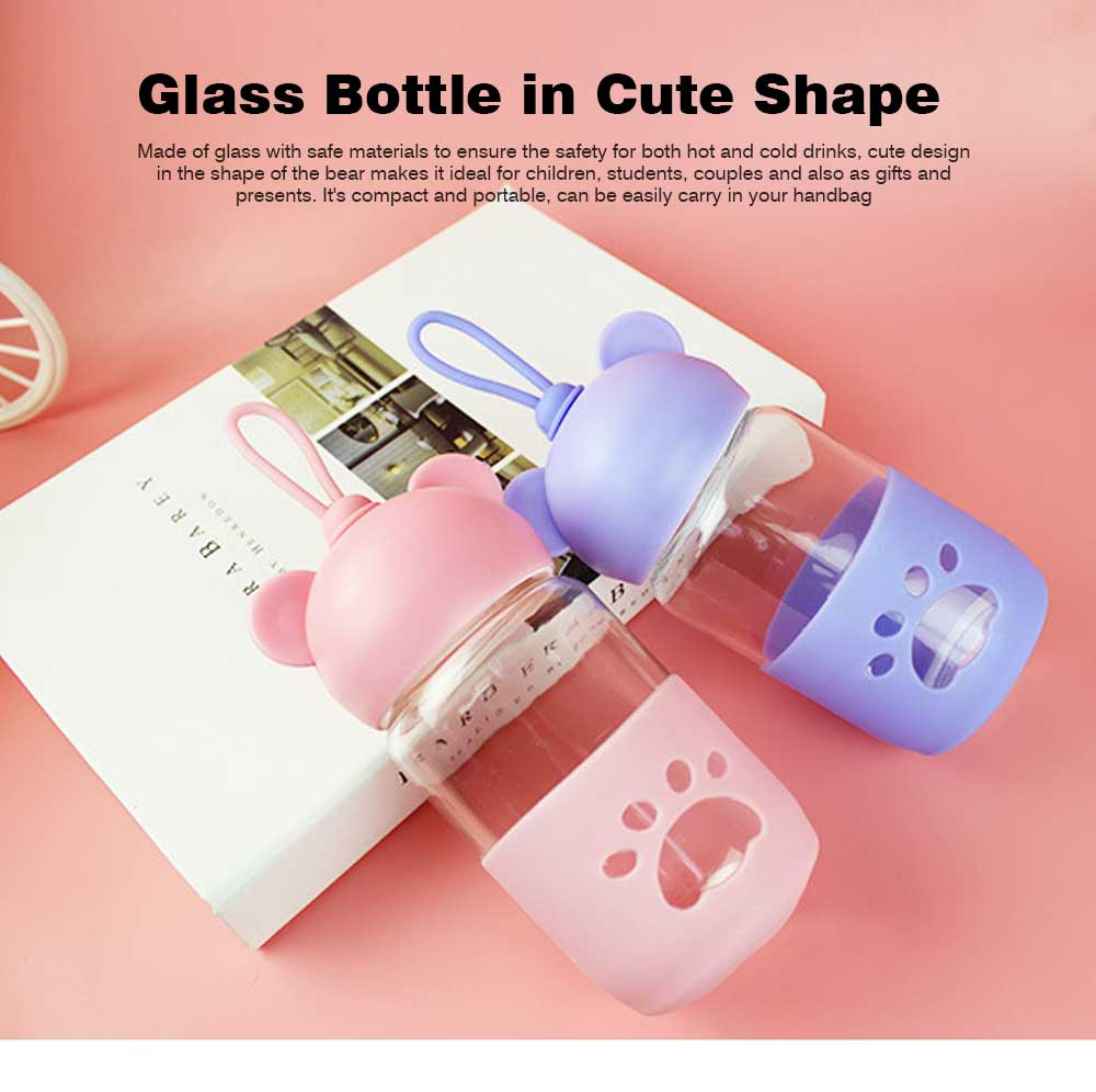 Cute Glass Water Bottle for Children, Kids, Students, Drinking Bottle for Couples 0
