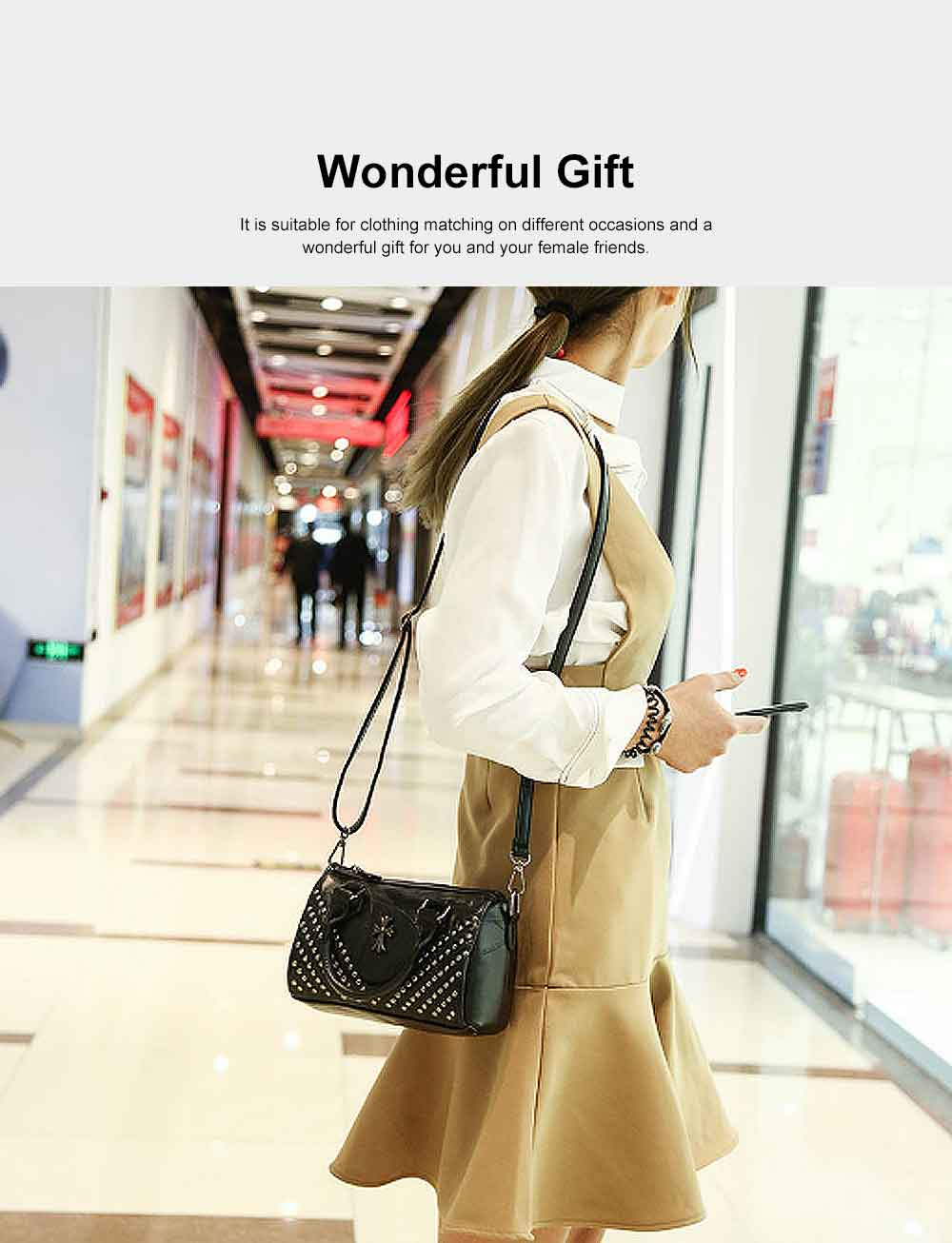 Sheepskin Small Square Bag, Fashion Round Hardware Rivets Shoulder Messenger Bag 6