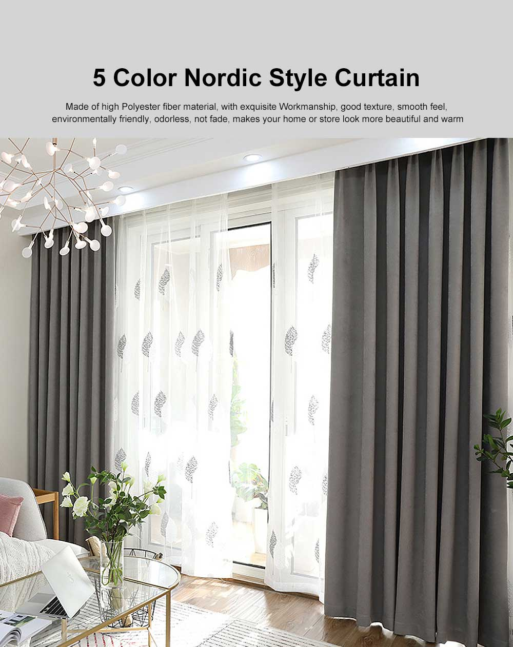 5 Color Nordic Style Curtain, Solid Color Curtains for Living Room Bedroom, Modern Minimalist Blackout Curtain 0