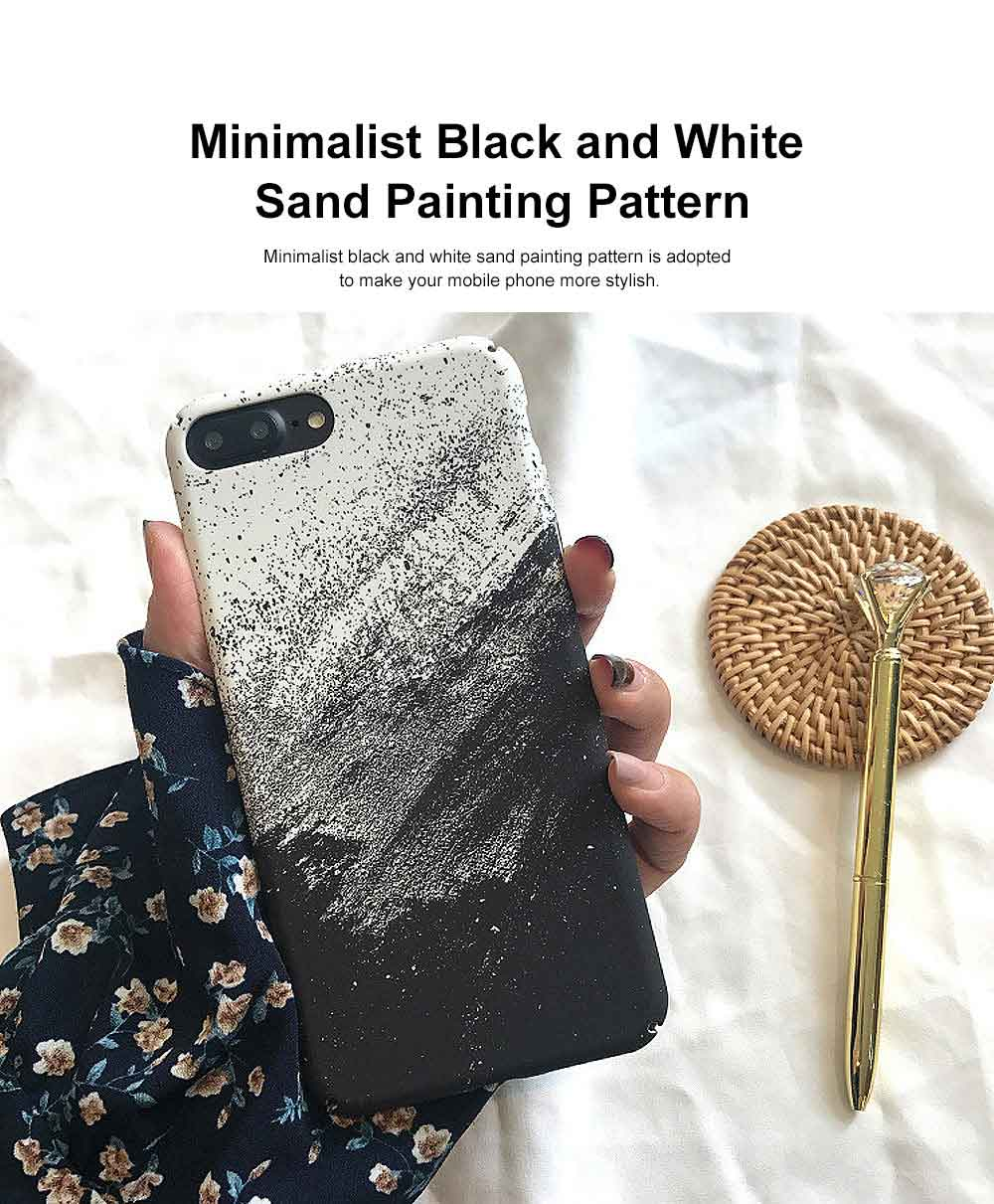Black White Sand Painting Phone Case, Minimalist PC Hard Case for iPhone, Luxury Ultra Thin, 360°Full Protection 1