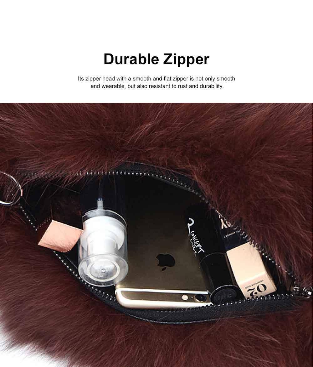 Selected Fox Fur Ladies Shoulder Bag, Beautiful Diagonal Crossing Bag, with Shoulder Strap Buckle 2