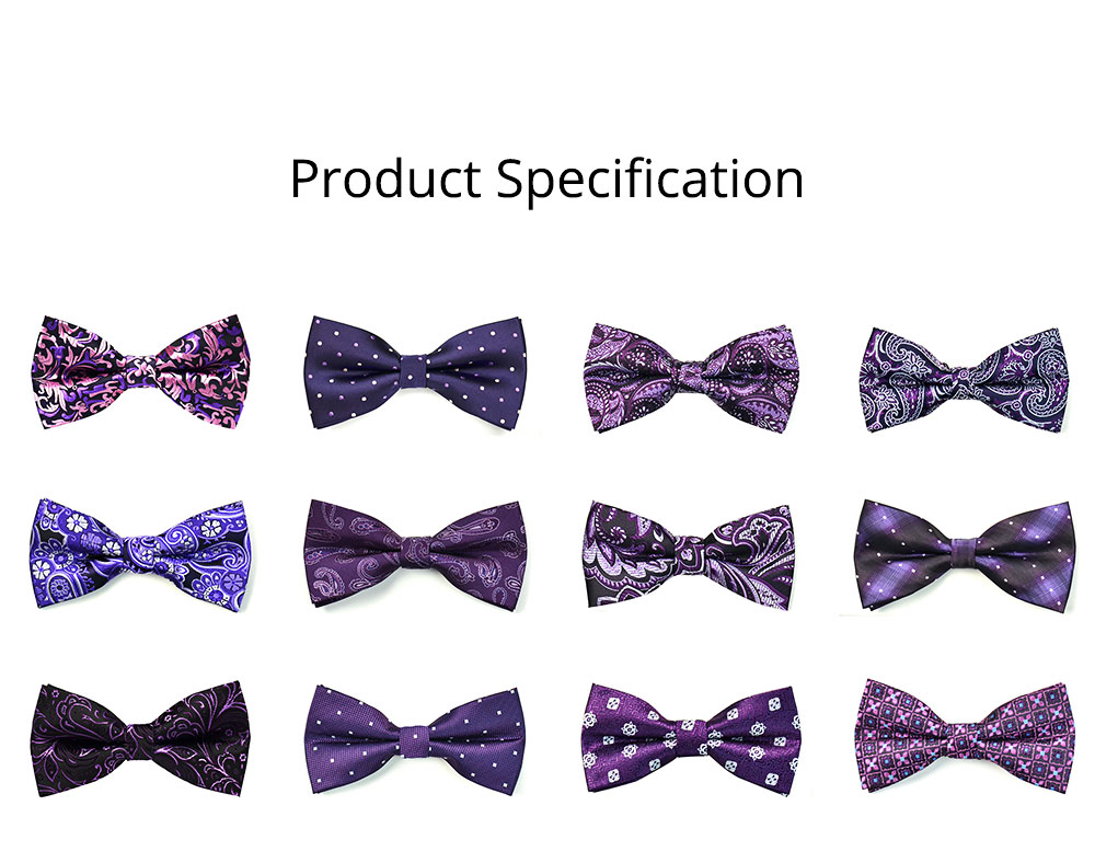 Bow Tie for Wedding Business Suit Fashionable British Style Elviro Tie Bridegroom Groomsman Used Bow Tie Purple Pink Tie European Pattern Design Tie 7
