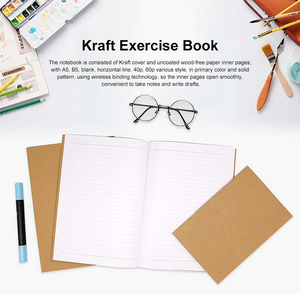 Simple Kraft Cover Exercise Book Students Scribbling Pad Uncoated Woodfree Paper 40&60 Pages A5&B5 Notebook 0