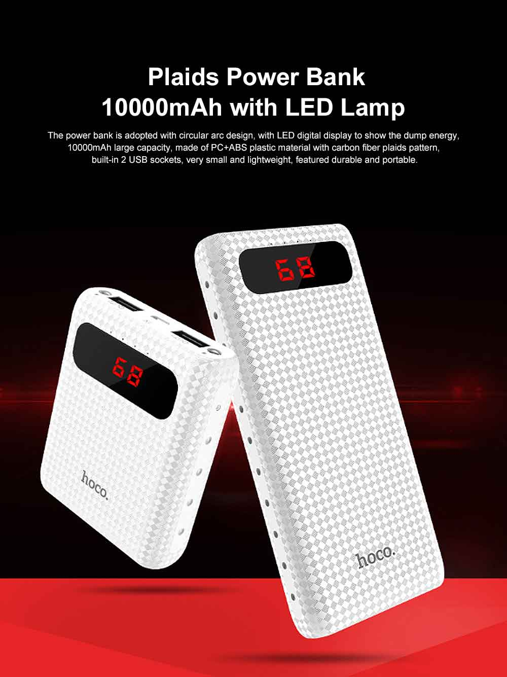 Exquisite Mini Pocket Carbon Fiber Plaids External Battery Fireproof ABS Charger Dual USB Power Bank for Cell Phone 10000mAh with LED Lamp 0
