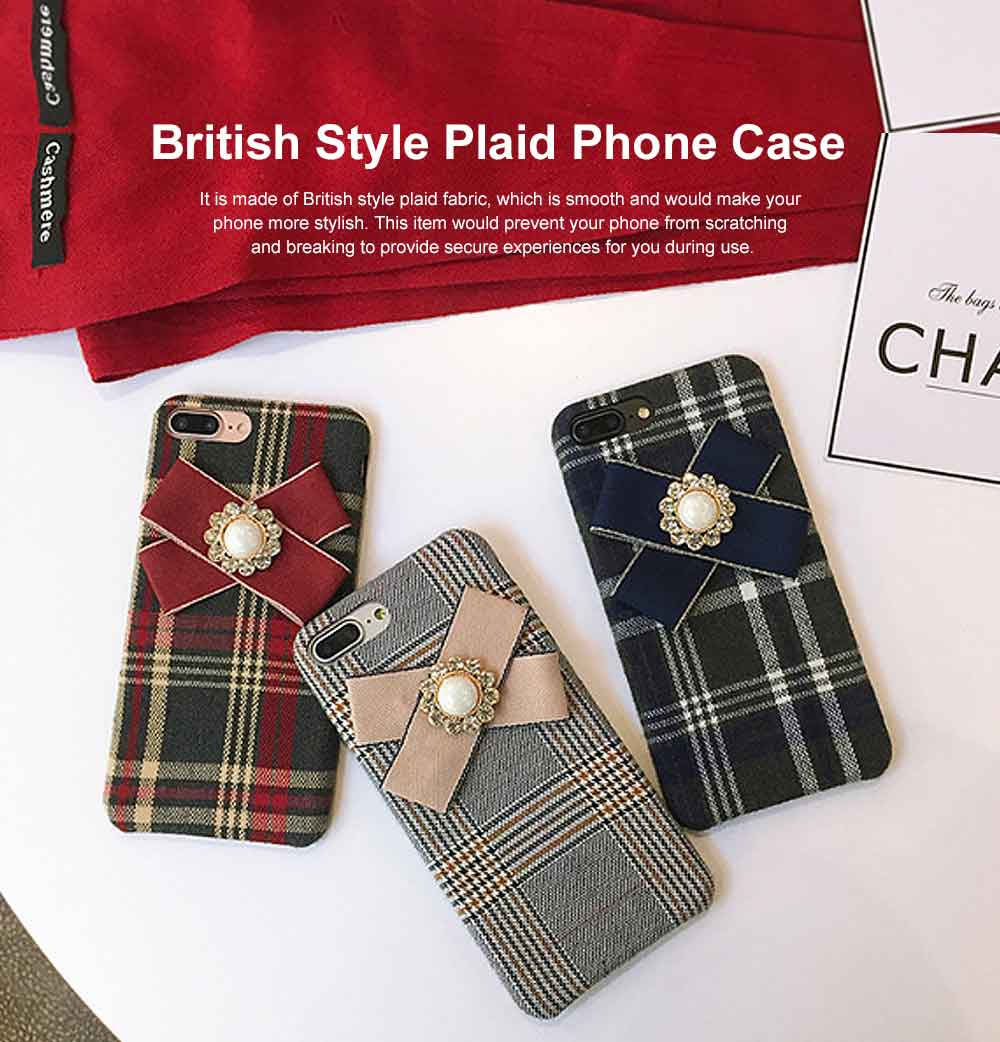 British Style Phone Case, Grain Case Cover with Bow, Luxury Ultra Soft Plaid Phone Case, Apply for iPhone, Oppo 0