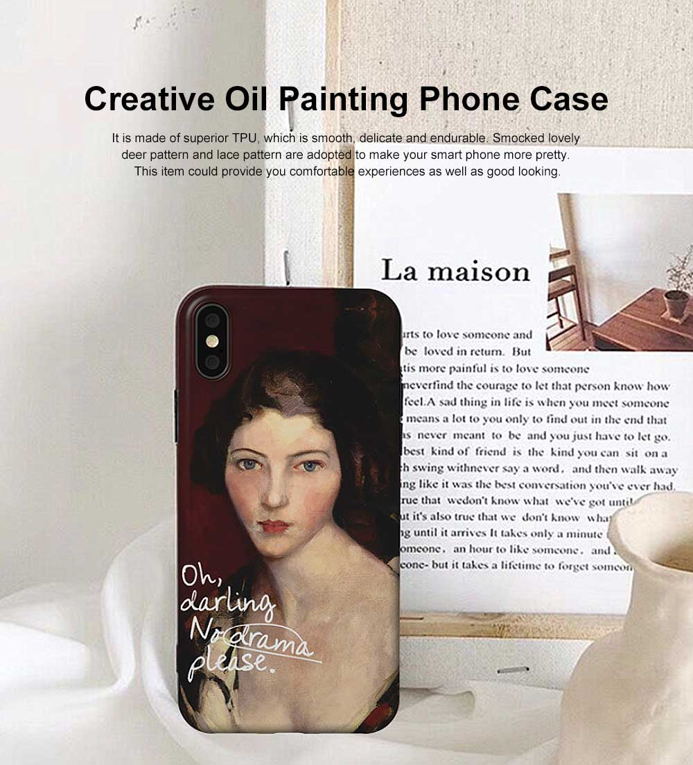Creative Oil Painting Phone Case, Fine and Smooth TPU Phone Case, Elegant Ultrathin Soft Case for iPhone 0