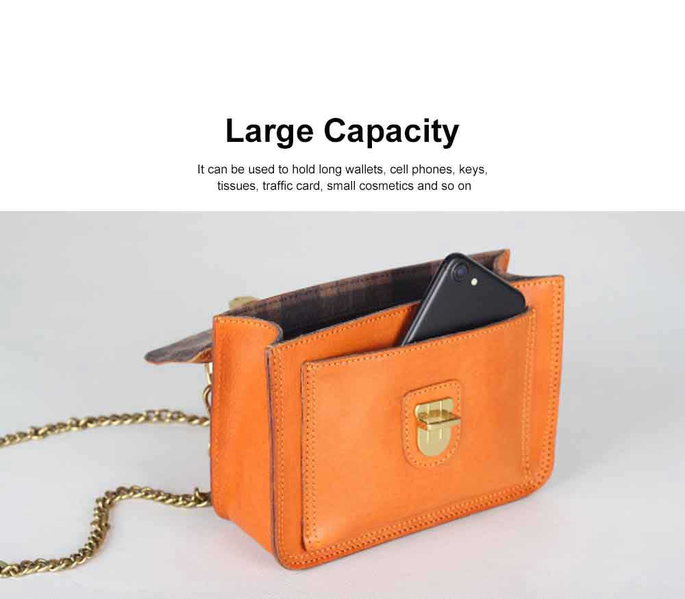 Ladies Retro Shoulder Bag, Vegetable Tanned Leather Diagonal Small Square Bag, with Texture Hardware Lock 5