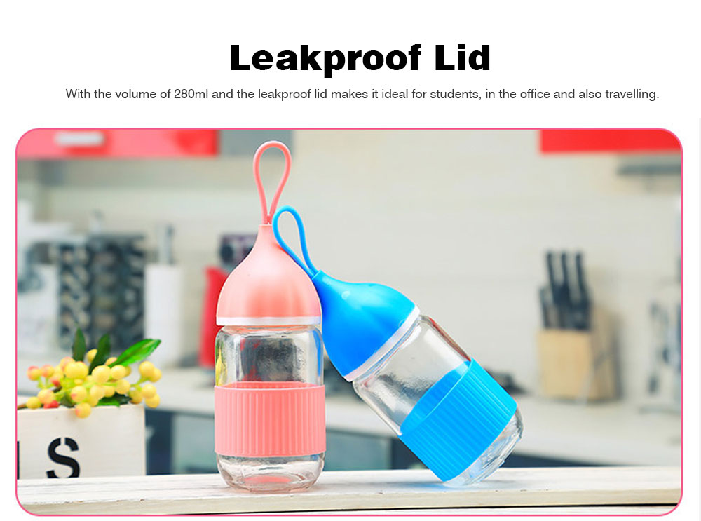 Colorful Glass Drinking Bottle for Students, Leakproof Botttle with Silicone Handle 4