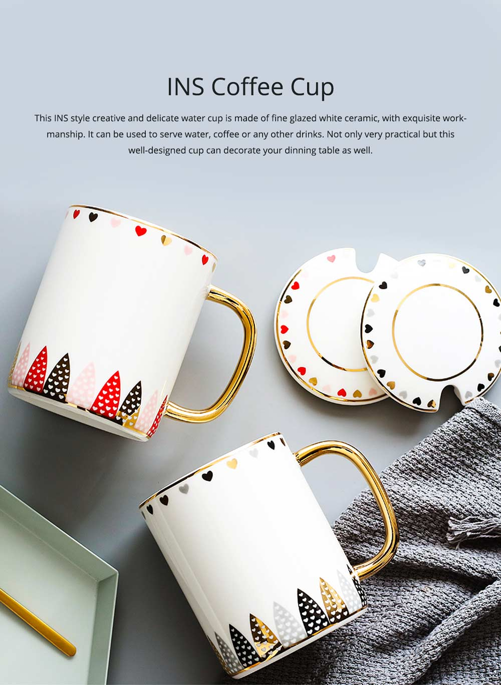 INS Creative Mug Cute and Simple Nordic Ceramic Couple Coffee Cup With Lid and Spoon High Quality Glazed Water Cup for Office and Home Using 0
