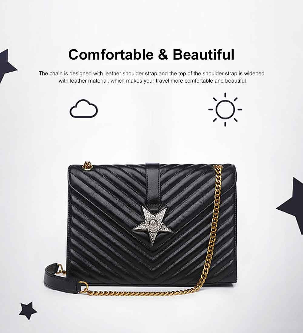 First Layer Cowhide Handbag, New Fashion Star Shoulder Diagonal Bag, with Metal Magnetic Buckle Design 5