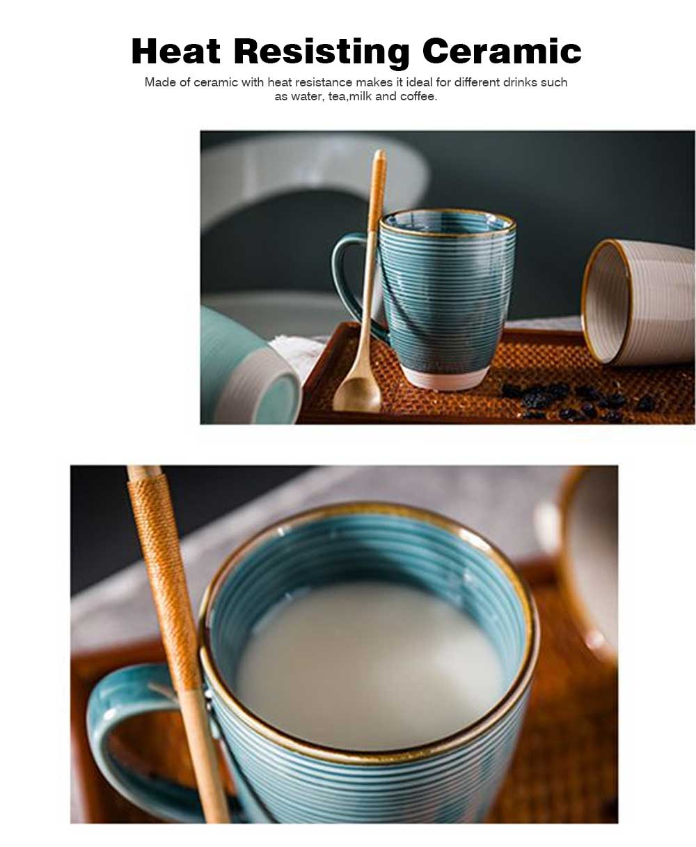 Ceramic Mug Cup with Glaze for Tea, Milk, Coffee, Water, Breakfast Cup for Cereal, Fashionable Water Mug for Home and Office 2
