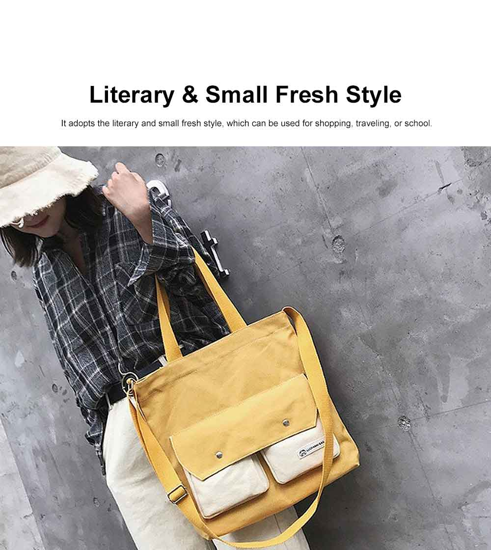 Literary Small Fresh Style Thickened Canvas Shoulder Bag, Fashion Female Student Messenger Bag 4