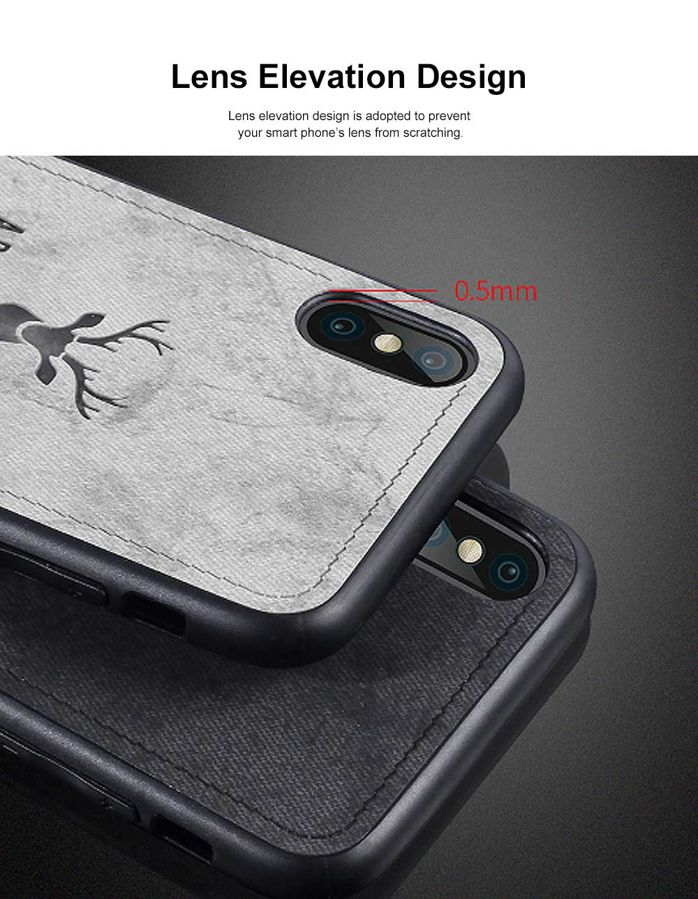 Elk Creative Silicone Phone Case, Creative Case Cover, Characteristic Linen Grain, Soft Silicone Case Cover, Apply for iPhone 5