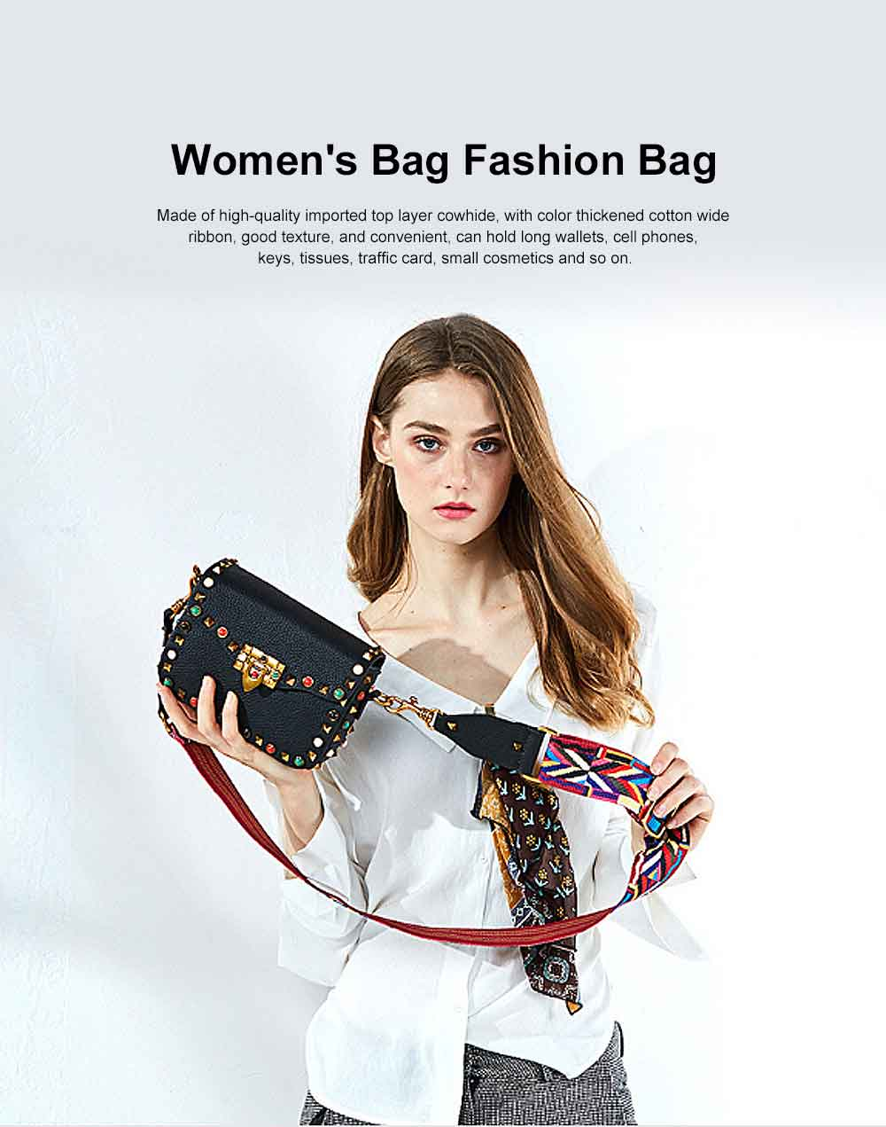 Color Thickened Cotton Wide Ribbon Shoulder Bag, Leather Diagonal Bag for Female 2019 0
