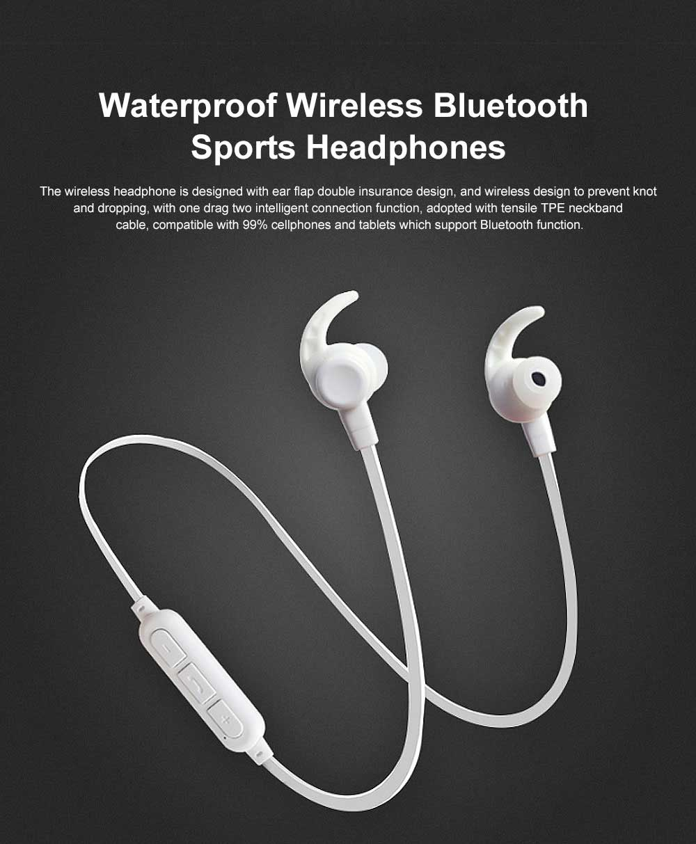 New Waterproof Wireless Bluetooth Earphone Headphones In-ear Neckband Headset Sports Supplies For iPhone Samsung 0
