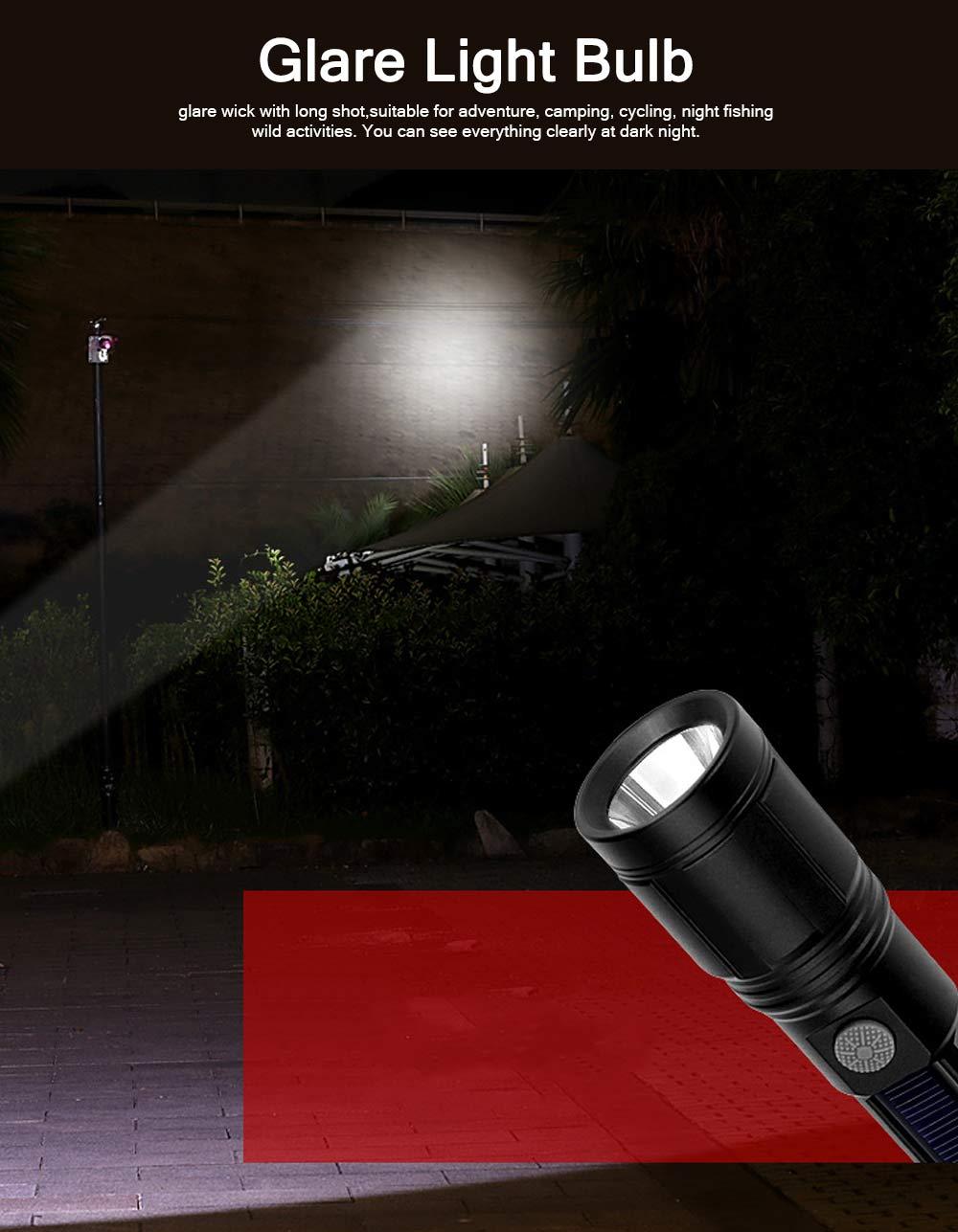 Emergency Charging USB Charging Lighting with LED Solar Panel, Self-defense Waterproof Aluminum Alloy Energy Saving Q5 Flashlight 4