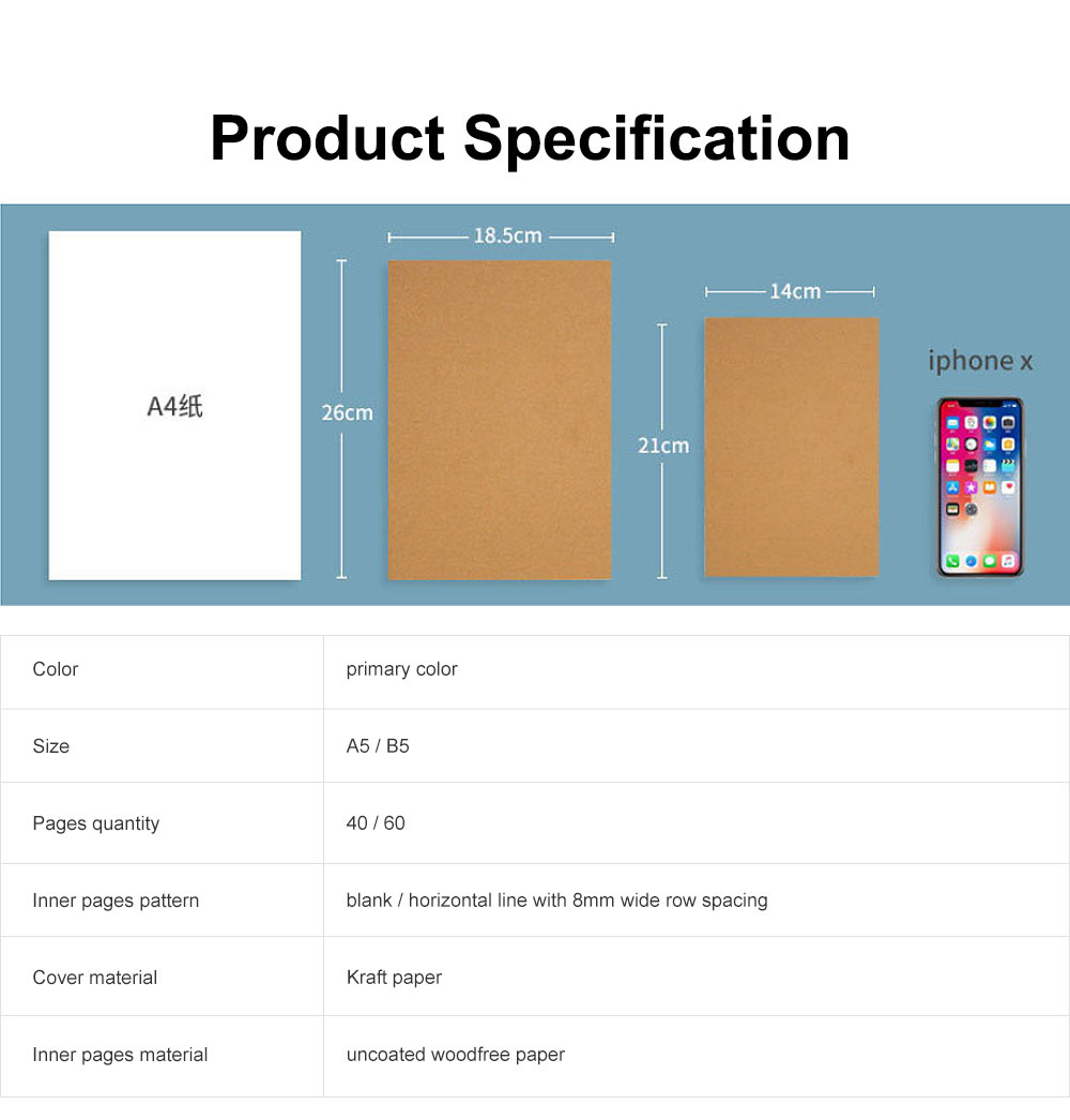 Simple Kraft Cover Exercise Book Students Scribbling Pad Uncoated Woodfree Paper 40&60 Pages A5&B5 Notebook 5