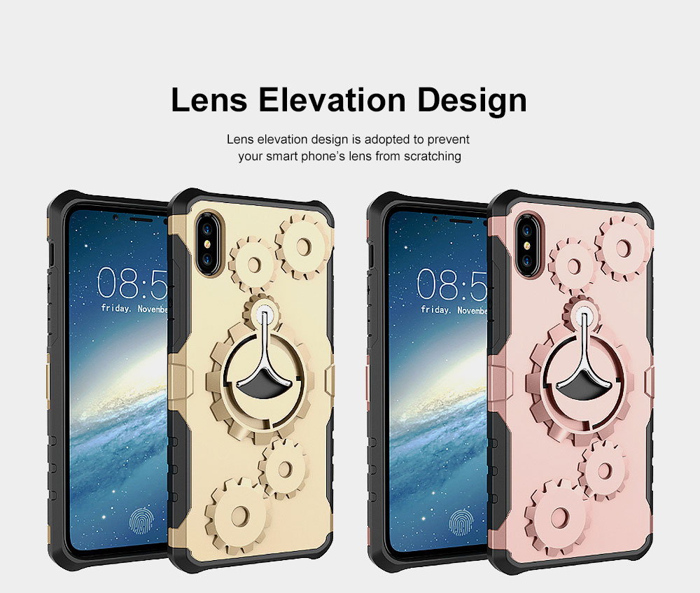 Annual Ring Pattern Phone Case, Multifunctional Phone Case with Ring Bracket, Case Cover with Holder, 360°Full Protection for iPhone 1