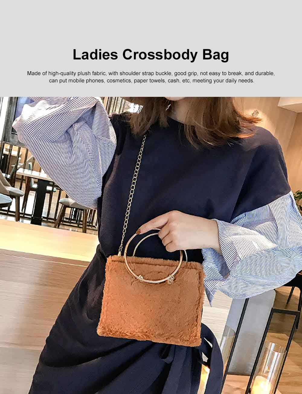 Fashion Ladies Crossbody Bag, Selected Plush Handbag, with Single Shoulder Rope and Handle Design 0