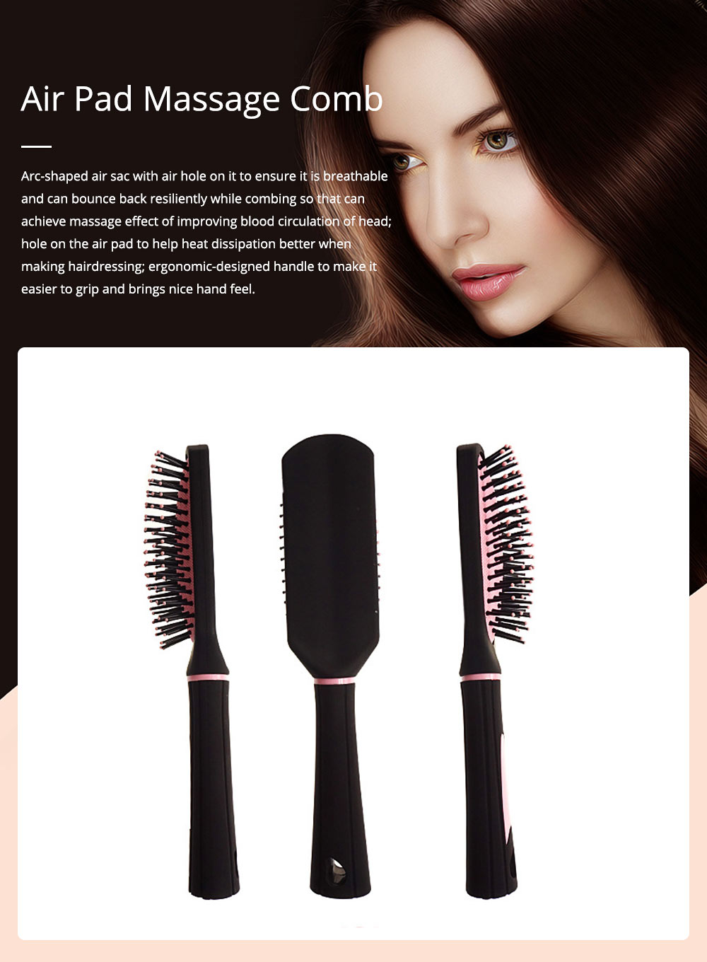 Air Pad Massage Comb Dull Polished Black Massage Comb Plastic Comb Square Hairdressing Massage Comb Hairdressing Tools 0