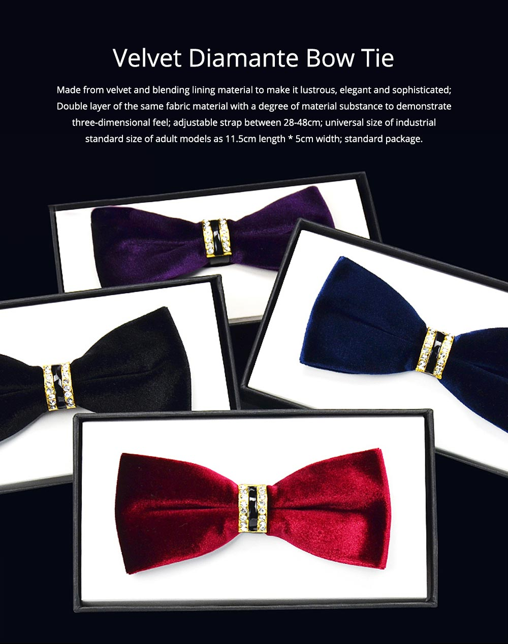 Velvet Diamante Bow Tie for Bridegroom Wedding Business Suit Bow Tie Fashionable Elviro Tie Groomsman Used Brand Diamante Tie 0