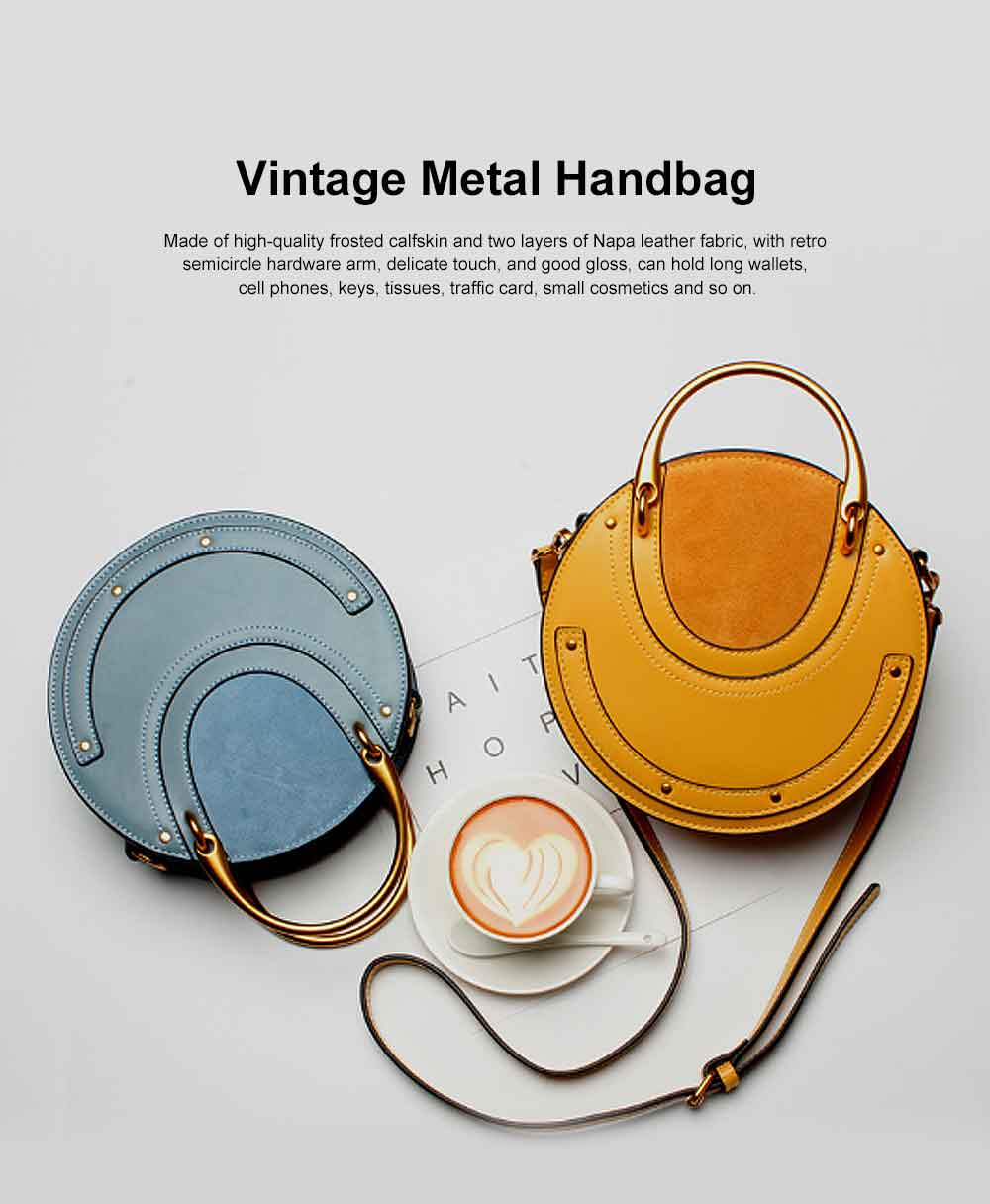Vintage Metal Handbag, Small Round Rivet Messenger Bag, with Retro Semicircle Hardware Arm 0