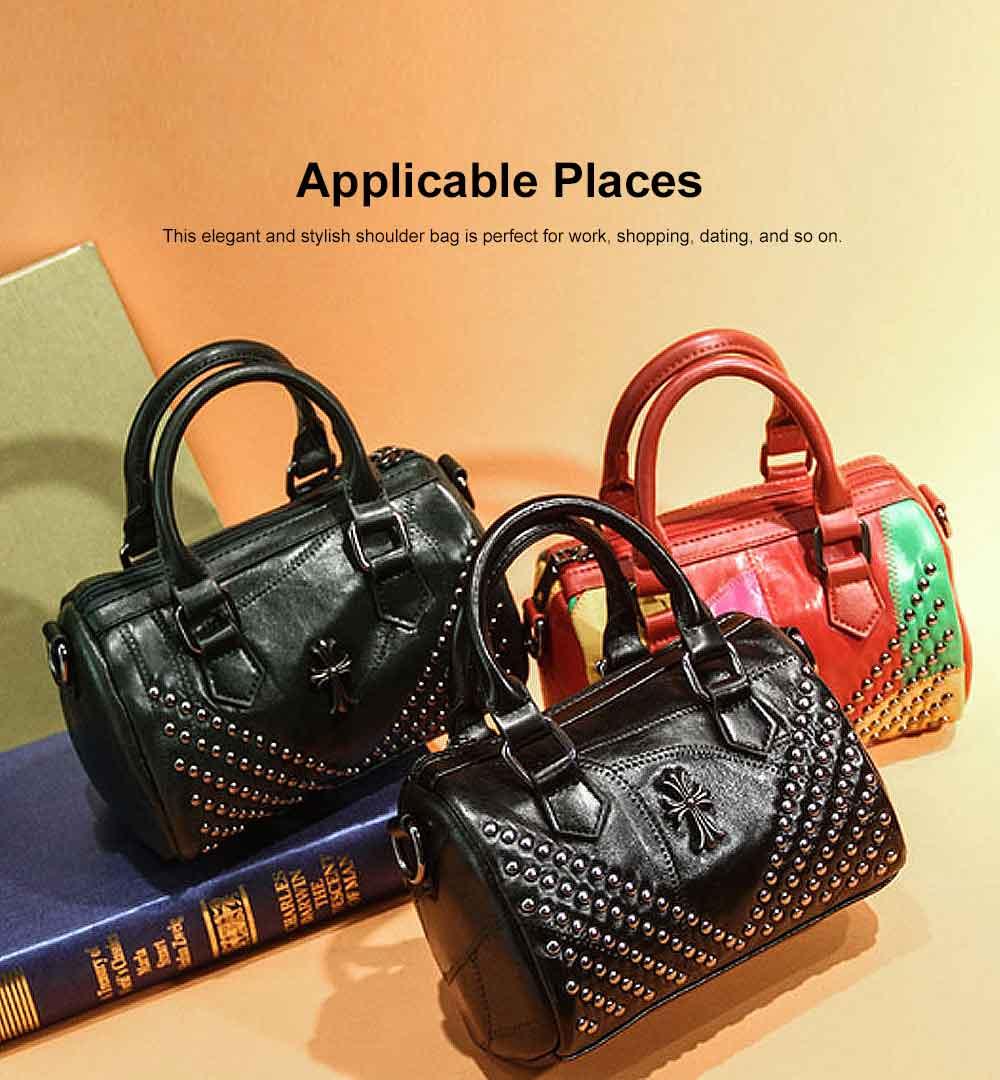 Sheepskin Small Square Bag, Fashion Round Hardware Rivets Shoulder Messenger Bag 2