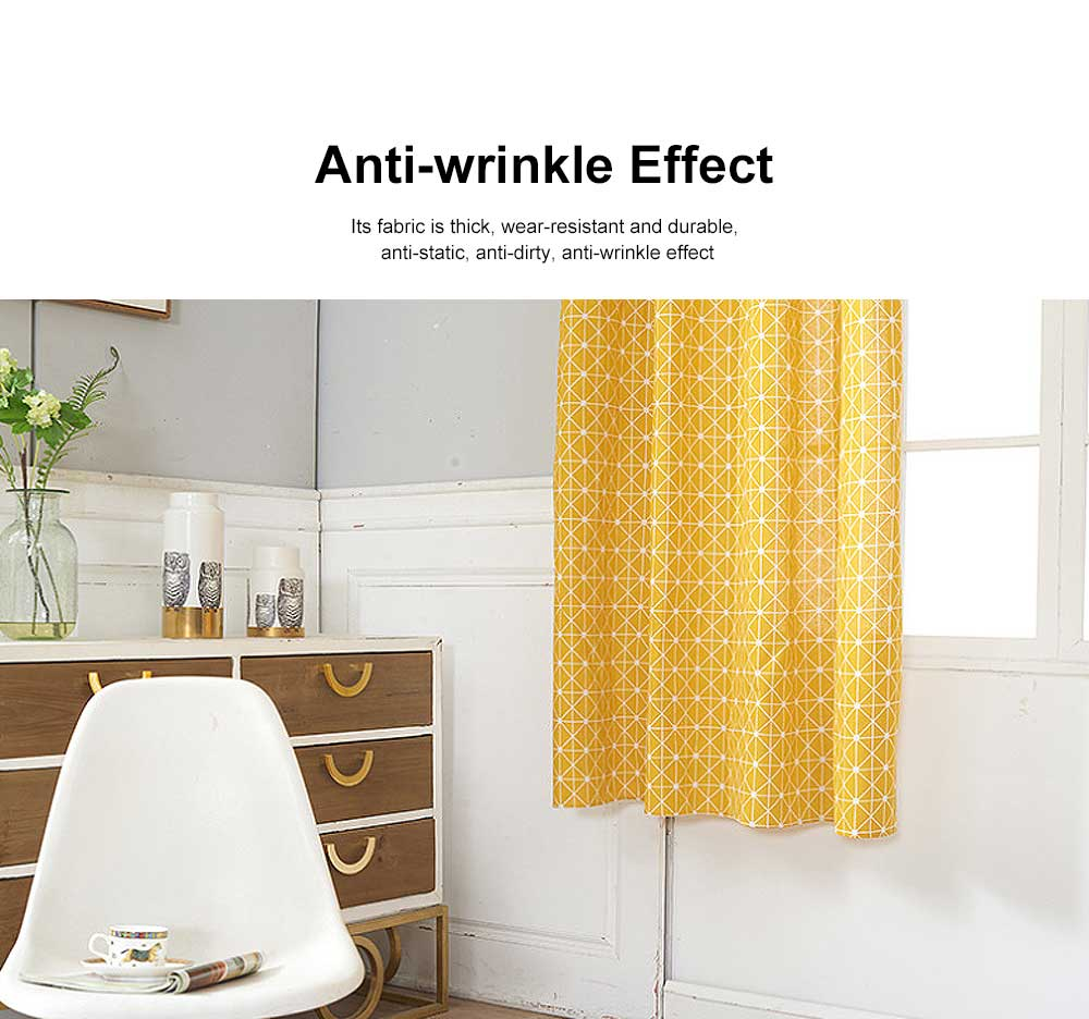 Yellow Checkerboard Plaid Half Shade Small Curtain, Nordic Curtains for Living Room, Bedroom, Cotton and Linen Printing Curtain 3