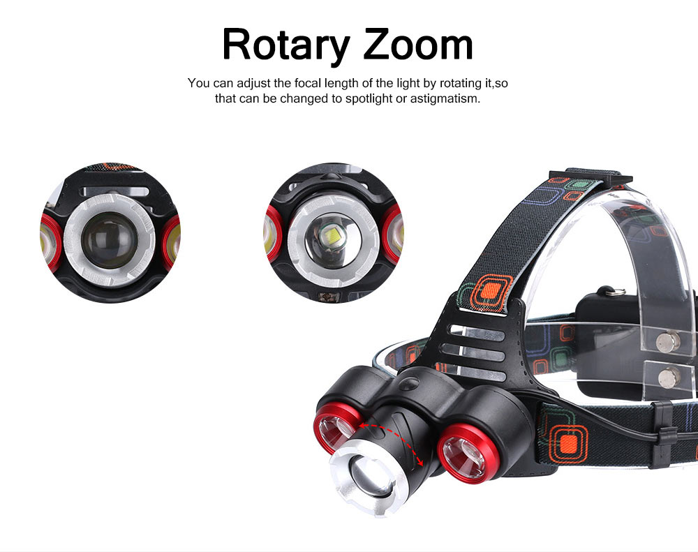 Long Lasting Zoom Headlight 3 LED Outdoor Strong Light Glare Lighting 3 Ports Charging Headlights T6 3