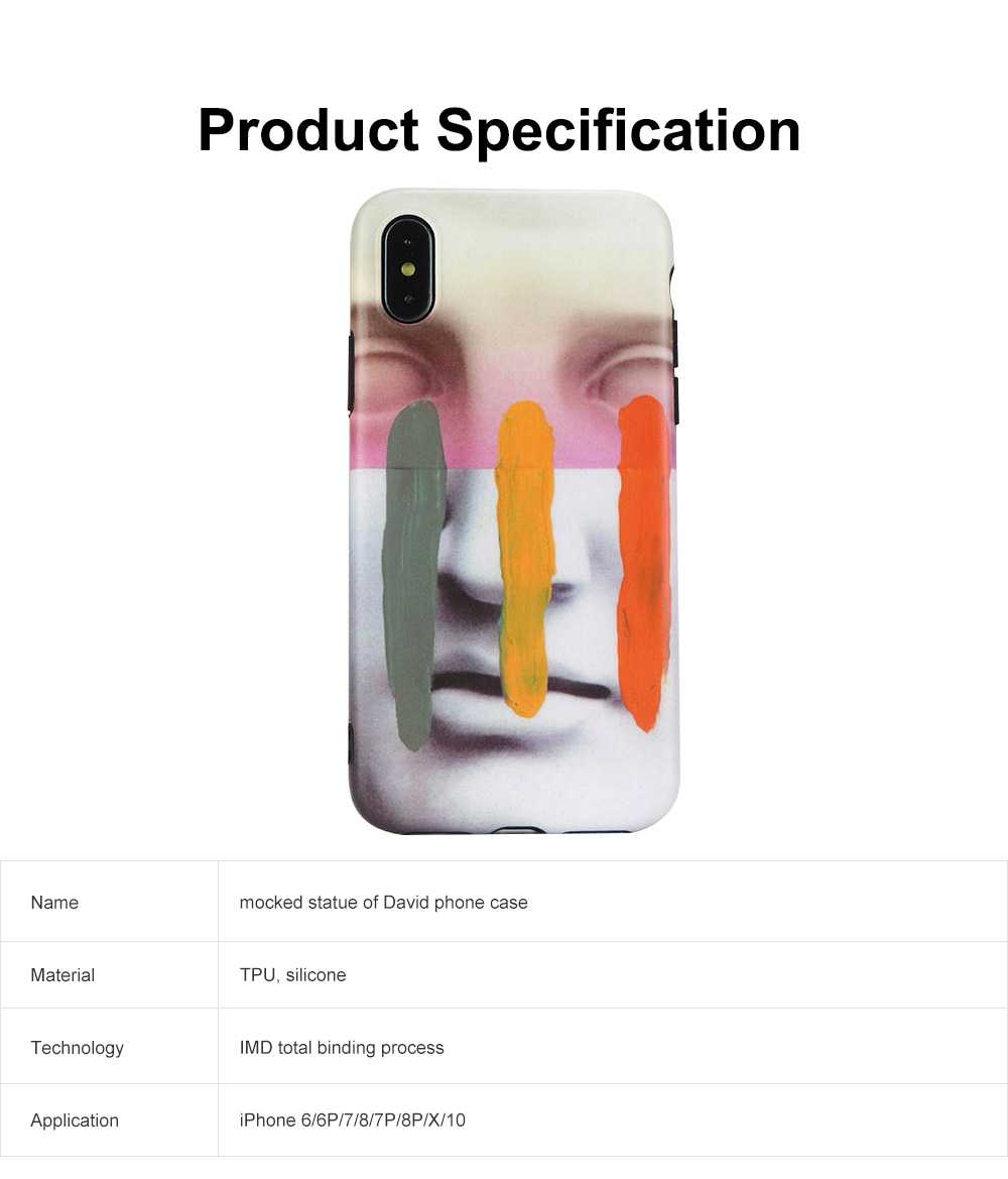 Mocked Statue of David Phone Case, Luxury Thin Soft TPU Case Cover, Stylish Breaking Proof Phone Case for iPhone 6