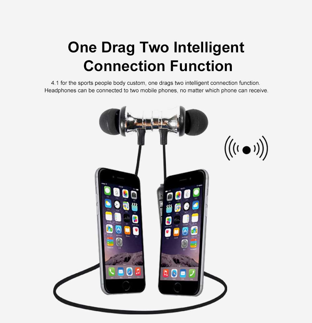 Metal Style Wireless Bluetooth Earphone Headphones In-ear Neckband Headset Sports Supplies For iPhone Samsung 3