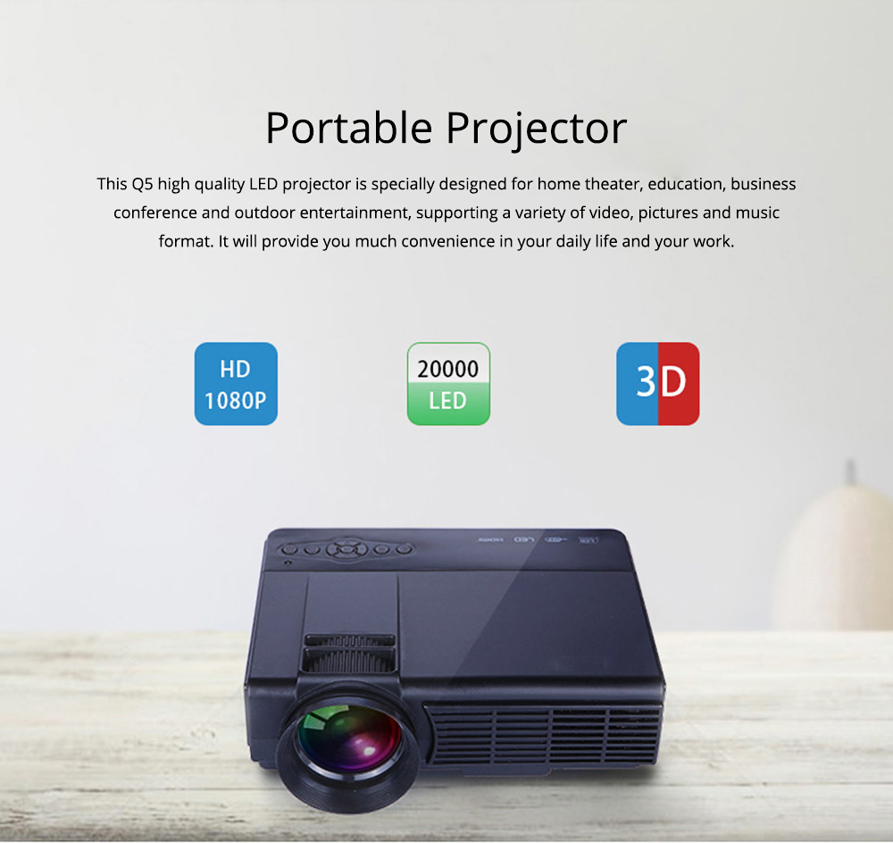 New Style High-definition Projectors Q5 Mini-sized Portable LED Projection Machine for Home Using 1080P Home Theater 0