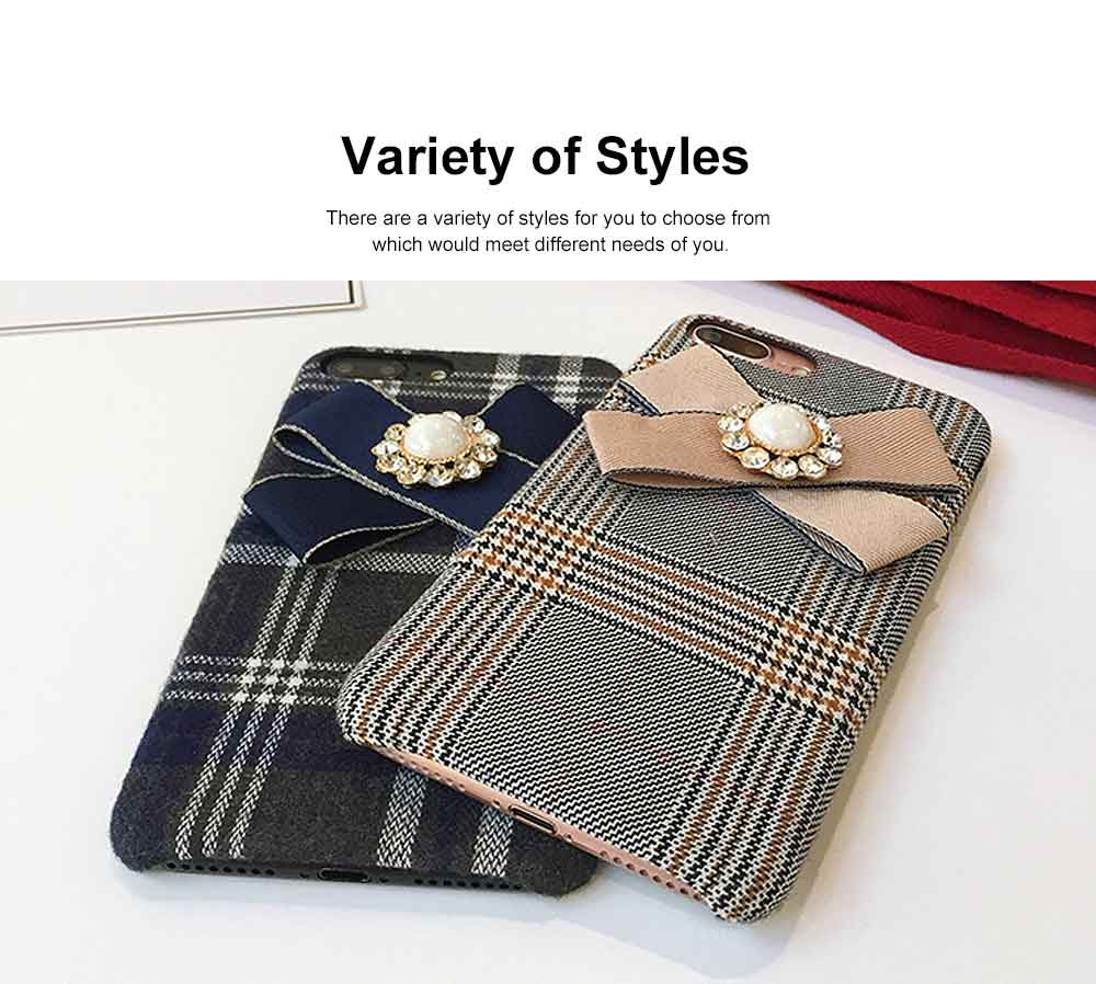 British Style Phone Case, Grain Case Cover with Bow, Luxury Ultra Soft Plaid Phone Case, Apply for iPhone, Oppo 1