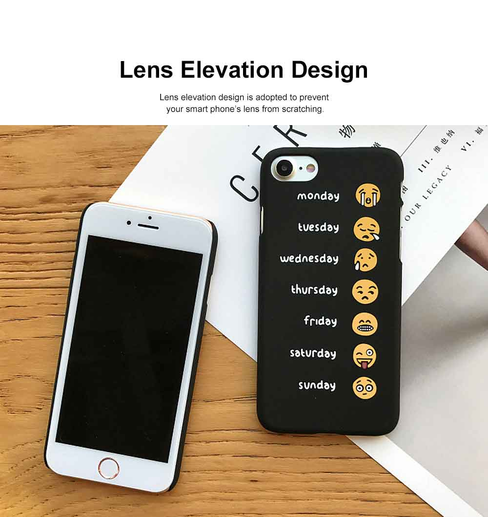 Emoji Phone Case, Cute Weekly List Case Cover, Luxury Smooth Thin Phone Case, PC Hard Case, Creative Case Cover for iPhone 1