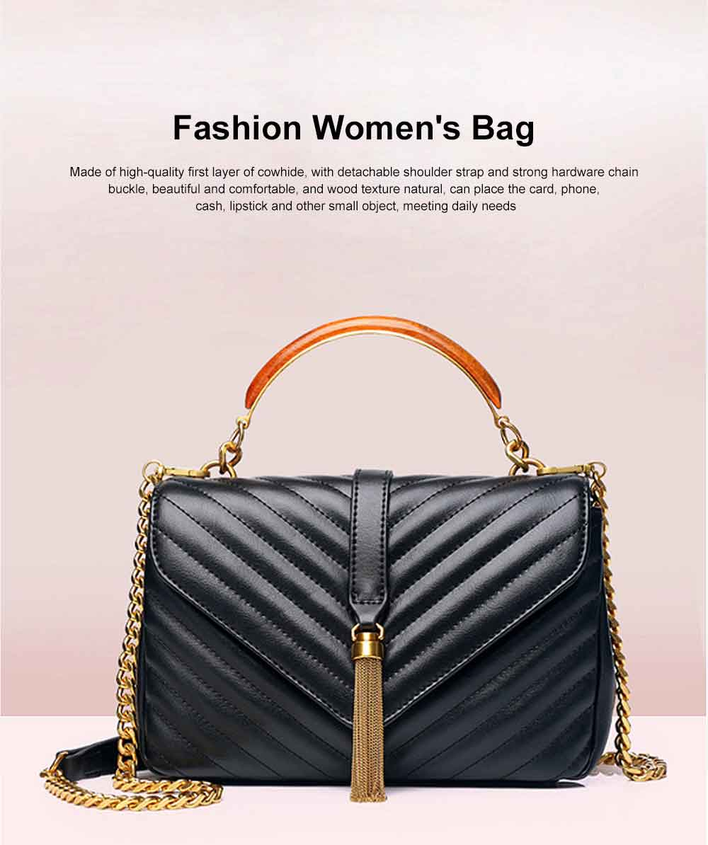 First Layer of Cowhide Handbag, Fashion Tassel V Ringer Bag for Female, with Retro Semicircle Handle 0