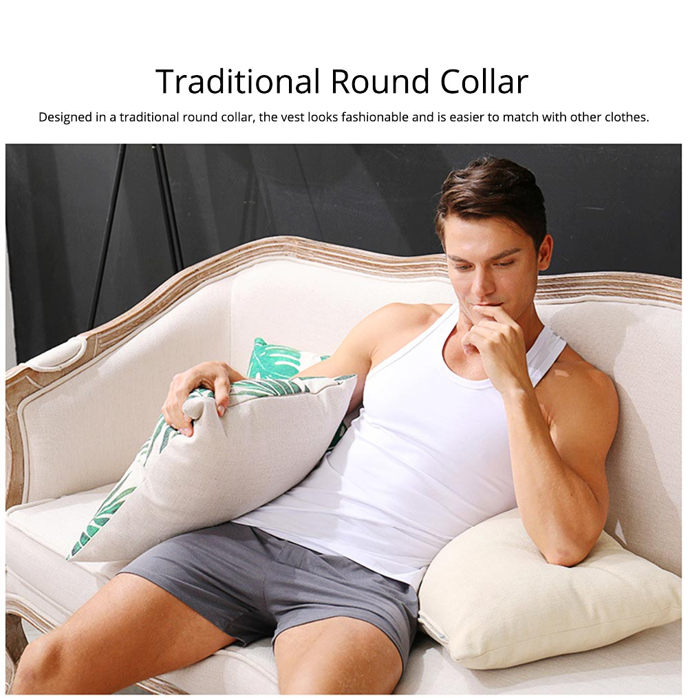 Cotton and Spandex Pajama for Men Comfortable Slippy Material Pure Cotton Tank Top and Modal Shorts Loose Sleepwear Set for Summer and Spring 4