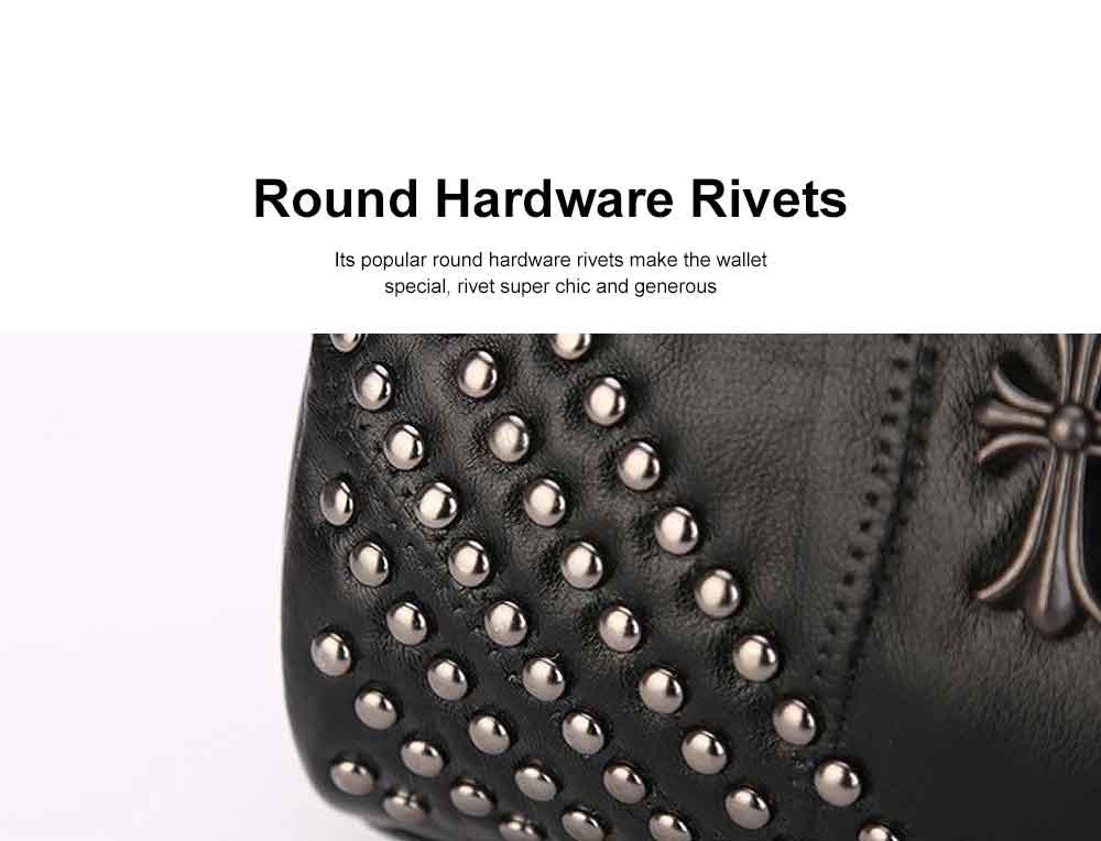 Sheepskin Small Square Bag, Fashion Round Hardware Rivets Shoulder Messenger Bag 5