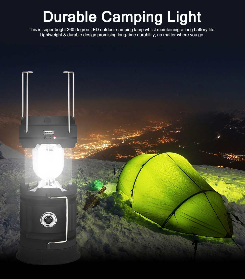 Outdoor Solar Charging Emergency Camping Telescopic Hurricane Lamp LED Portable Tent 18650 Lithium Battery Camping Light 0