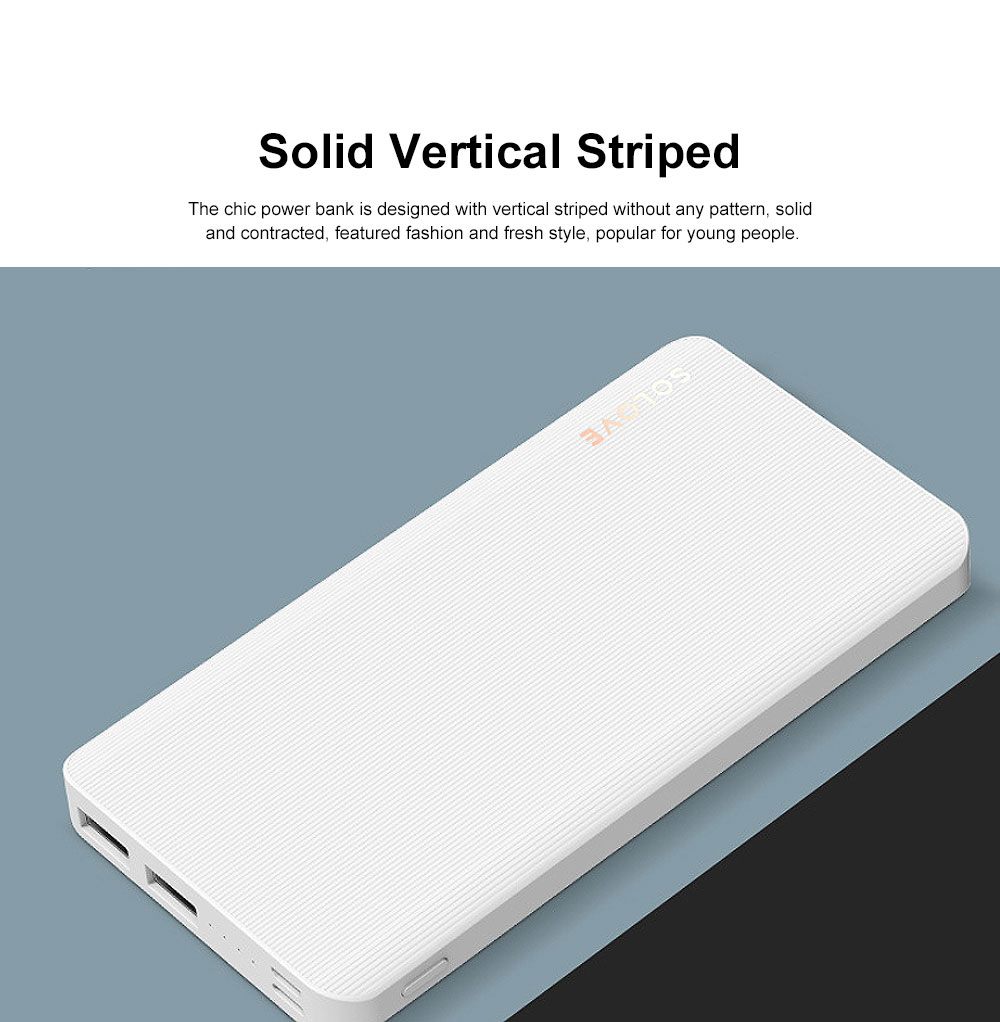 Chic Solid Vertical Striped Power Bank Portable External Battery Slim Charger Fast Charging for Cell Phone 10000mAh 1