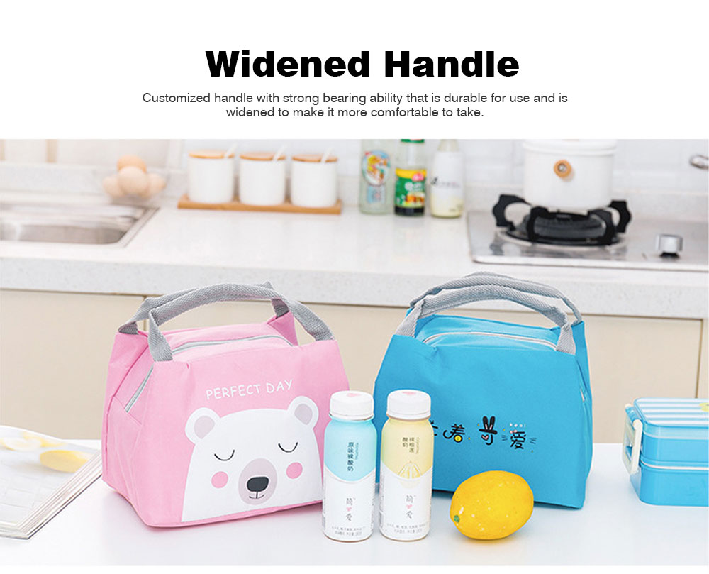 Cartoon Insulated Lunch Bag with Zipper, Small Size Cooler Bag Lunch Container for Outdoor Activities, School, Students, Children, Waterproof Lunch Tote Bag 5