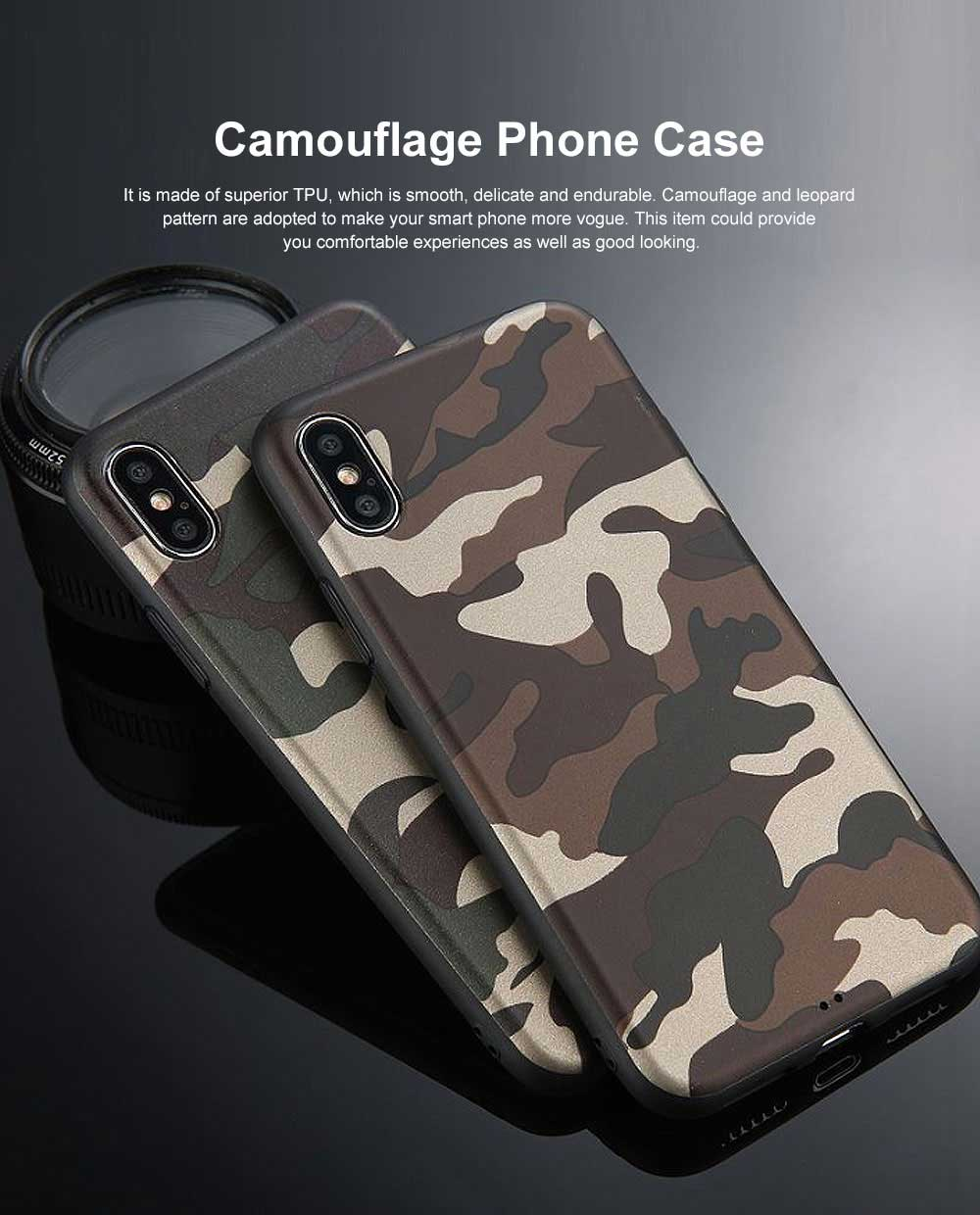 Camouflage Phone Case, Leopard Print Case Cover, Smooth TPU Phone Case, Luxury Ultra Thin Case Cover for iPhone 0