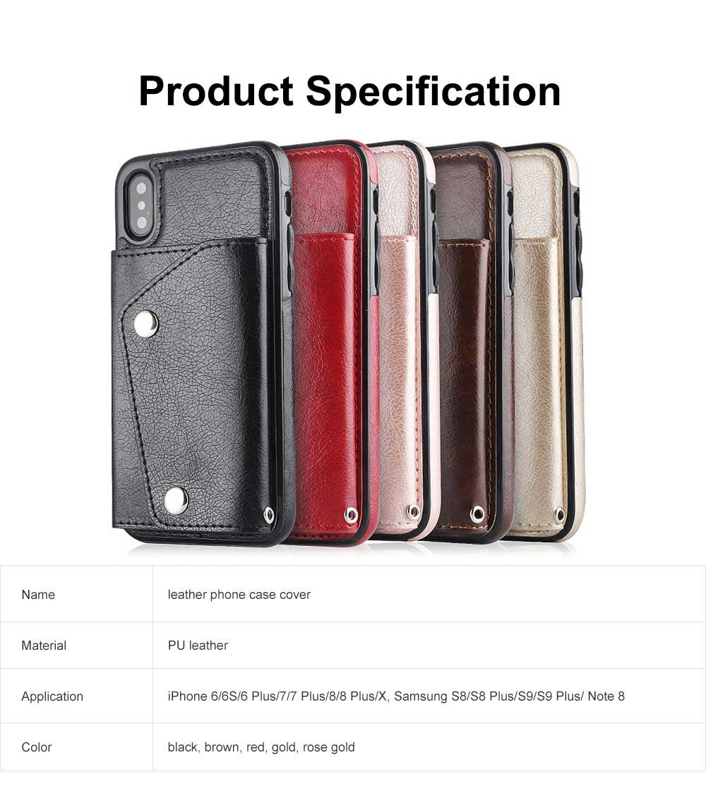 Stylish Leather Phone Case with Card Bag, Wallet, Case Cover Can be Insert Cards, Multifunctional Phone Case for iPhone, Samsung 6