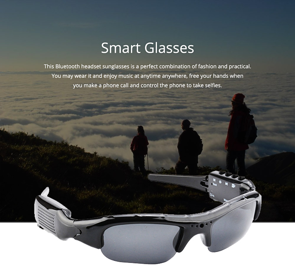 High Quality Wireless Bluetooth Sunglasses Sports Riding Glasses Headset Smart Glasses for Music and Camera Shooting 0