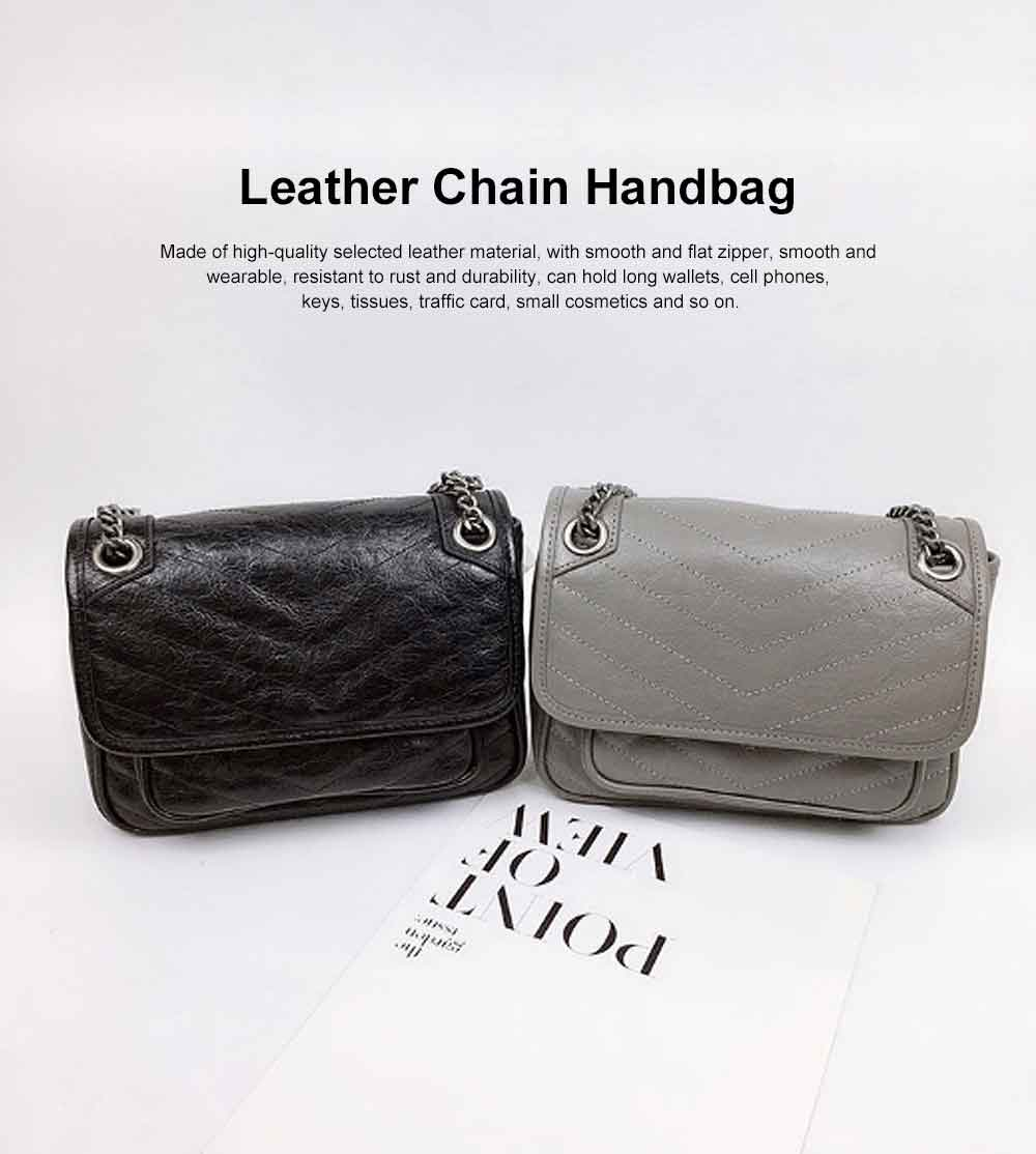 Female's Retro Selected Leather Chain Handbag, Wax Oil Leather Shoulder Bag, with Durable Zipper 0
