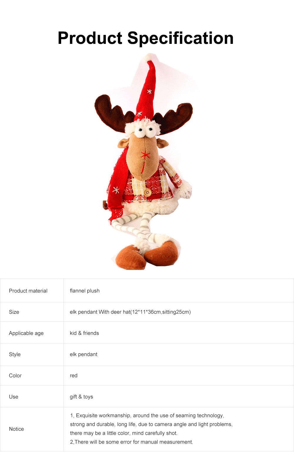 Christmas Decorations Elk Ornaments Christmas Fabric Sitting Posture Dolls Christmas Creative Toys 6